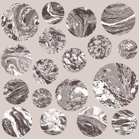 Round beige marble pattern texture set. Vector pale illustration. Illustration