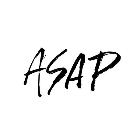 ASAP. Modern dry brush lettering. Vector illustration. Illustration