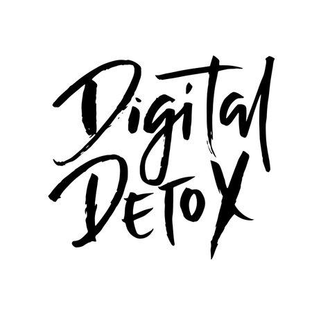 Digital detox. Hand drawn modern dry brush lettering. Vector illustration.
