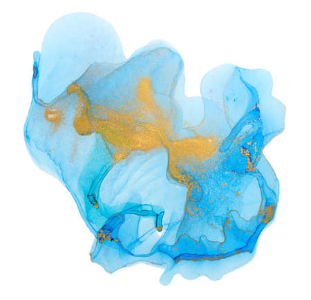 Chaotically splattered blue transparent ink stains on white background. Abstract watercolor texture with gold splashes.