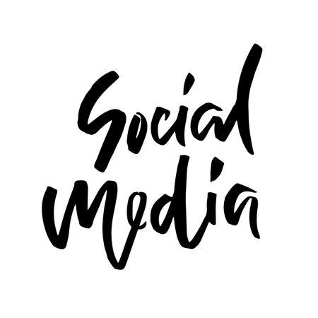 Social media. Calligraphy banner. Modern dry brush lettering. Vector illustration.