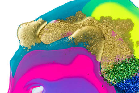 Blue, green and gold glitter on fluorescent liquid ink background.