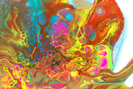 Neon colored marble pattern with golden glitter. Fluorescent liquid background. Artwork abstract bright texture with acrylic sell.