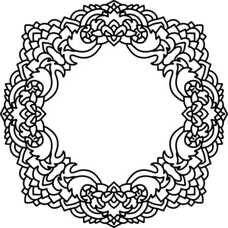 Abstract mandala frame. Asian leaves pattern. Black and white authentic background. Vector illustration.