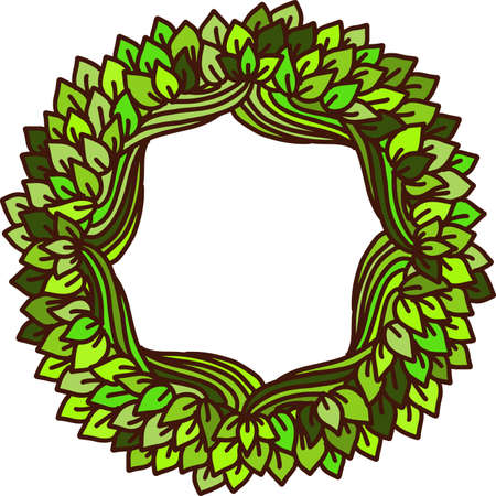 Eco style print. Leaves and branches green outline frame. Natural sketch ornament. Vector illustration