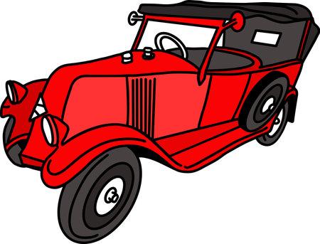 Red retro car sketch. Vintage vector illustration.