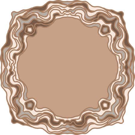 Round old wooden frame print imitation. Vector illustration. Çizim