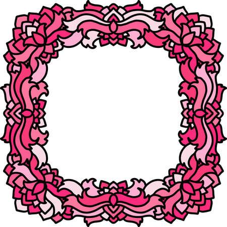 Abstract mandala frame. Pink ribbon pattern. Vector illustration. Çizim
