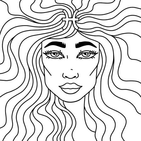 Adult coloring book. Pisces portrait. Zodiac sign. Vector illustration.