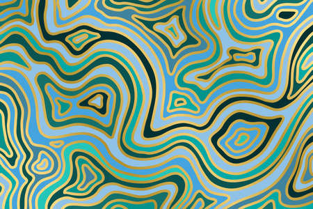 Abstract blue and gold backround. Agate slice ripple texture imitation. Vector illustration. Çizim