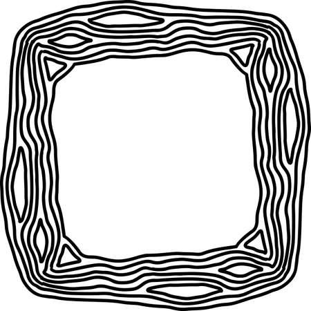 Black and white wooden frame sketch. Vector illustration. Çizim
