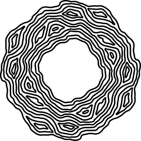 Wave ornate simple frame. Vector black and white illustration.