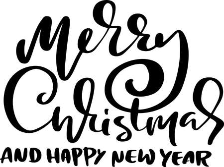 Hand drawn phrase Merry Christmas and Happy New Year. Modern dry brush lettering design. Vector typography vector illustration.