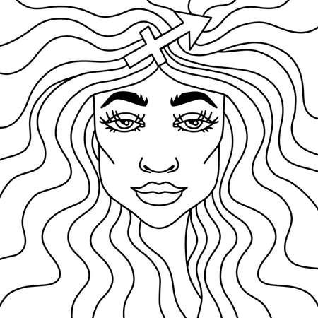 Sagittarius girl black and white portrait. Zodiac sign adult coloring book. Vector illustration. Çizim