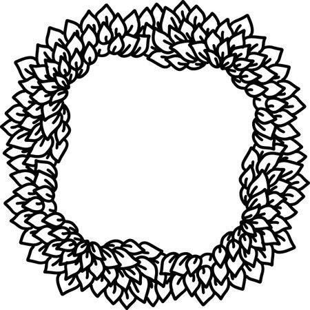 Eco style print. Leaves black outline frame. Natural sketch ornament. Vector illustration. Çizim
