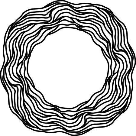 Wave abstract ornate simple frame. Vector black and white illustration. Çizim