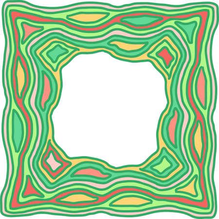 Green ornate simple frame. Vector illustration.