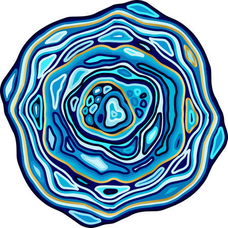 Marble blue wave pattern. Agate slice imitation. Vector illustration.