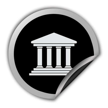 classical theater: Court building icon round vector sticker