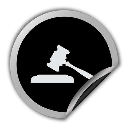 governmental: Judge or auction icon round vector sticker