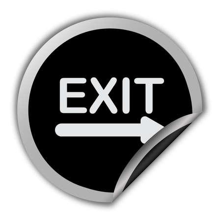 Exit icon round vector sticker