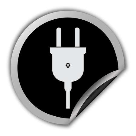 Electric plug icon round vector sticker