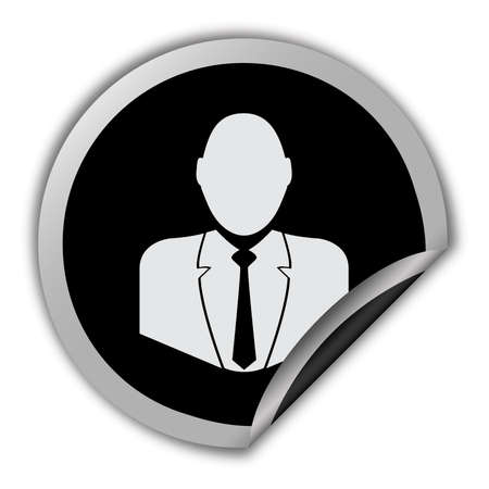 businessman icon round vector sticker Vector