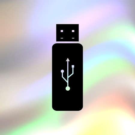 usb flash: USB flash vector icon Illustration