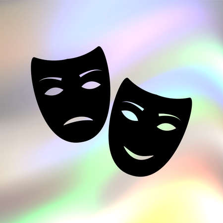 comedy: tragedy and comedy masks vector icon Illustration