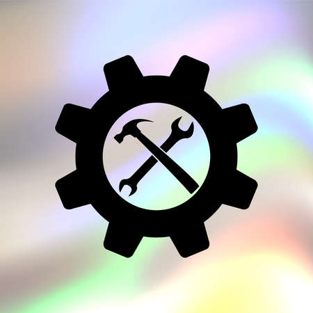 rebuild: Wrench and hammer vector icon Illustration