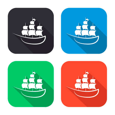 ship vector icon with long shadow - colred set