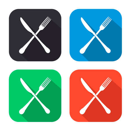 dinning table: crossed fork and knife vector icon with long shadow - colred set