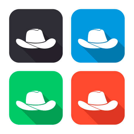 cowboy hat vector icon with long shadow - colred set Illustration