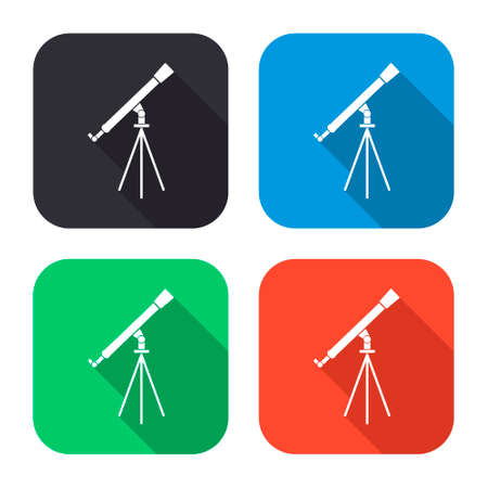 ocular: telescope vector icon with long shadow - colred set