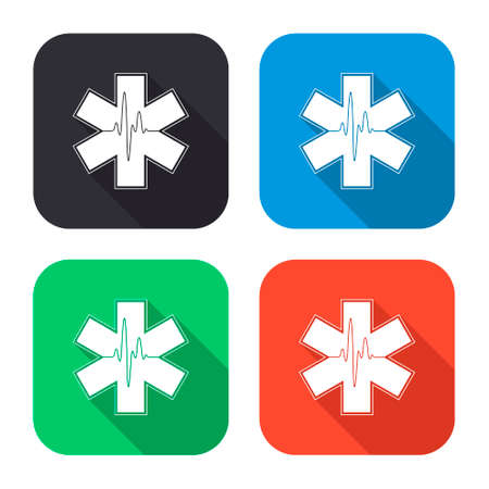 star of life: life star vector icon with long shadow - colred set Illustration
