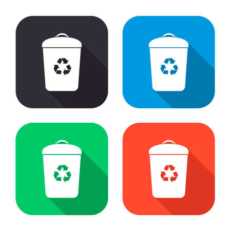 trash bin vector icon with long shadow - colred set