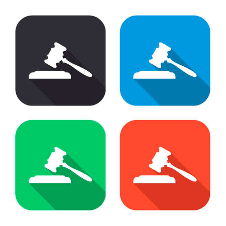 roman pillar: judge or auction vector icon with long shadow - colred set
