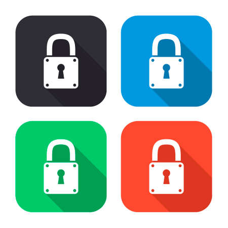 secure icon: lock vector icon with long shadow - colred set Illustration