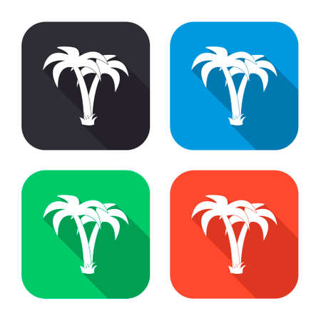 tropical tree: palm tropical tree vector icon with long shadow - colred set Vectores