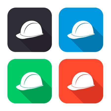 mine site: safety hard hat vector icon with long shadow - colred set Illustration