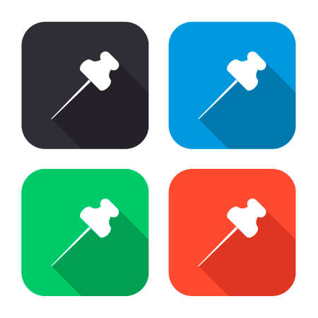 to pierce: push pin vector icon with long shadow - colred set