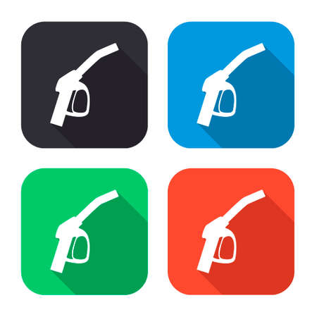filler: close up of a gas station vector icon with long shadow - colred set