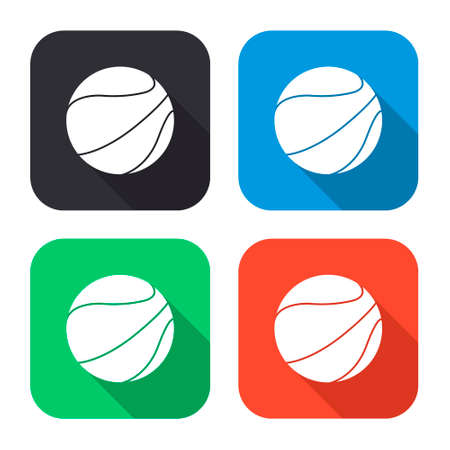objects with clipping paths: basketball ball vector icon with long shadow - colred set