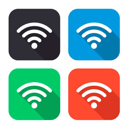 hot wife: wi fi vector icon with long shadow - colred set