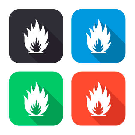 fuoco e fiamme: fire flames vector icon with long shadow - colred set