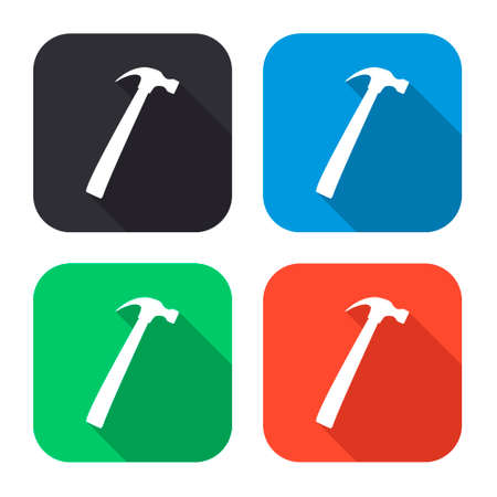 leverage: hammer vector icon with long shadow - colred set