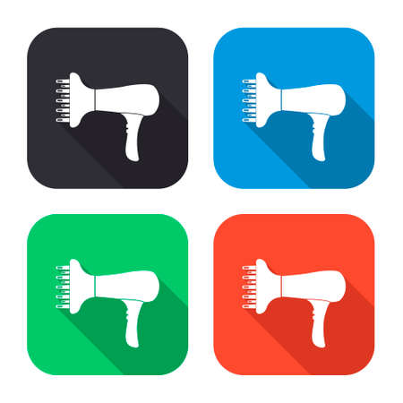 blow dryer: blow dryer vector icon with long shadow - colred set