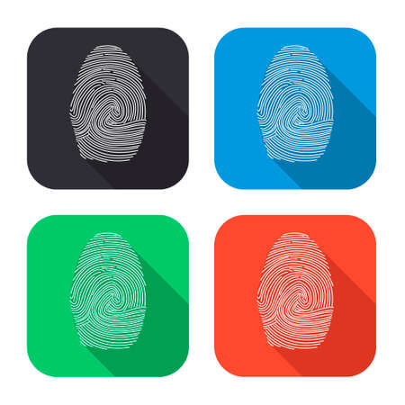 ide: fingerprint vector icon with long shadow - colred set