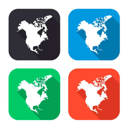 north america map: North America map vector icon with long shadow - colred set Illustration