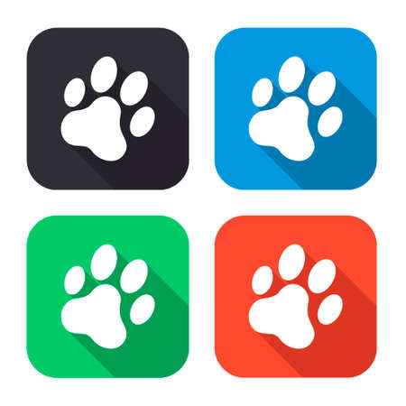 cat paw: cat paw print vector icon with long shadow - colred set